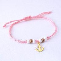 I refuse to sink bracelet, anchor bracelet, pink bracelet with anchor charm