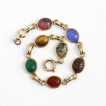 Vintage Scarab Bracelet - 12k Rosy Yellow Gold Filled Retro Carved Colorful Beetle Gems - Retro Dainty Egyptian Revival Bloodstone Jewelry
