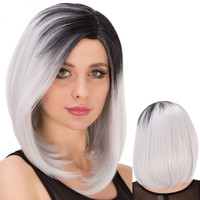 Medium Trendy Side Parting Silver Mixed Black Straight Cosplay Lolita Synthetic Wig For Women