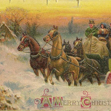 Four Horse Coach Arrives with Christmas Guests Embossed Vintage Christmas Postcard John Winsch 1915