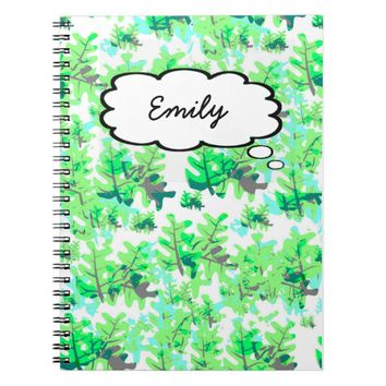 Green Leaves Pattern Thought Bubble Custom Name Spiral Notebook
