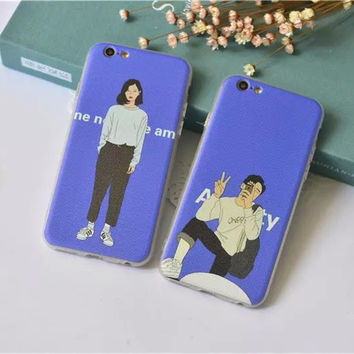 Hot Deal Cute Hot Sale On Sale Stylish Iphone 6/6s Korean Couple Apple Simple Design Iphone Soft Phone Case [8864261127]