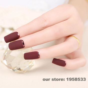 24pcs Lady Artificial False Nails Tips Sexy Frosted Metal Color Style Purplish Red Opposite French Nail Moo Z112