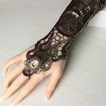 Sexy Women Ladies Steampunk Goth Party Costume Gold Lace Fingerless Gloves Long