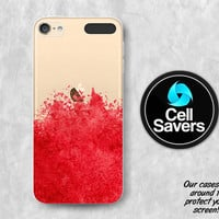 Red Watercolor Splatter Clear iPod 5 Case iPod 6 Case iPod 5th Generation iPod 6th Generation Rubber Case Gen Clear Case Art Paint Tumblr