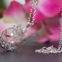 Beautiful Hand Blown Glass Pendant Filled with Delicate Little Dandelion Seeds. A Perfect Christmas Gift for Someone Special