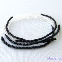 Seed Bead Stretch Bracelets, Set of Four, Black and Clear Stretchy Jewelry