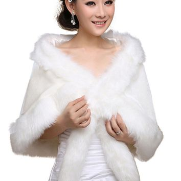 In Stock Wedding Accessory Faux Fur Black White Custom Made Bridal Coat Wedding Bolero Stoles Jacket Shrug Wraps 17017