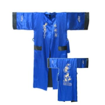 New Blue Black Chinese Male Satin Reversible Bathrobe Two-Face Lounge Sleepwear Embroidered Robe Gown Kimono Gown One Size ZR35