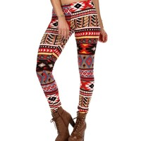Red/Multi Mixed Tribal Printed Leggings