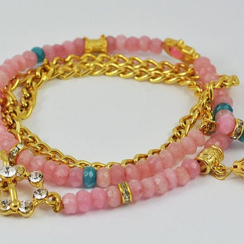 Pink Jade MULTI STRAND BRACELET Pink jade faced gemstone beads and brass authentic zircon crystal gold plated pendant  Bracelet Model