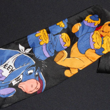 Vintage Pooh Tie Winnie the Pooh Necktie Honey Tiger Eeyore Cartoon Characters Show Animated Disney Mens Novelty Dress Black Neckwear