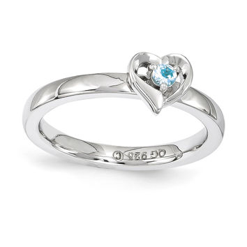 Sterling Silver Stackable Expressions Blue Topaz Heart Ring