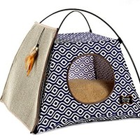 Trendy Pet Cat Tent with Attached Cat Scratcher | Removable Bolstered Microfiber Pillow - 21in x 21in x 18.5in