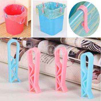 2Pcs Trash Bag Fixed Clip Waste Basket Rubbish Bin Garbage Can Clamp Holder New