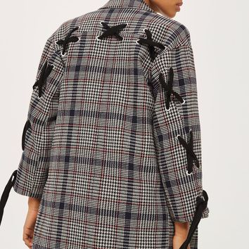 Lace Up Sleeve Checked Coat | Topshop