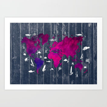 world map 99 fish and surf  #worldmap #map Art Print by jbjart