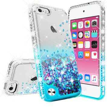 Apple iPod Touch 6, iPod Touch 5 Case Liquid Glitter Phone Case Waterfall Floating Quicksand Bling Sparkle Cute Protective Girls Women Cover for iPod Touch 6/iPod Touch 5 - Teal