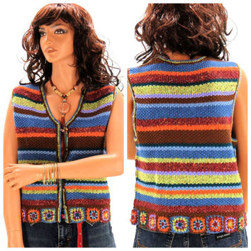 Vintage 70s knitted sweater vest M / L, ramie granny square boho sleeveless sweater, knitted 70s hippie vest, Koret, SunnyBohoVintage