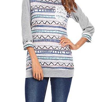 Qearal Women Striped 34 Sleeve Raglan Shirts Baseball Tees With Front Lace Crochet Pocket
