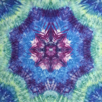 "large mandala tie dye tapestry or wall hanging in purple blue green 44""x52"""