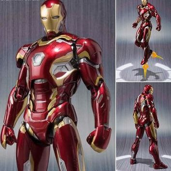 NEW hot 16cm avengers Super hero Iron man MK42 MK43 movable action figure toys Christmas gift doll with box