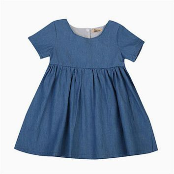 Infant Newborn Kids Baby Girls Denim Jeans Short Sleeve Buttons Mini Dress Princess Holiday Beach Dresses Sundress Clothes 0-2Y