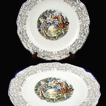 Vintage, Service for 3, Victorian Era, Courting Couples, Classic Scenes, 15 Piece Set, Tableware Set, By Sabin Industries, Inc. USA