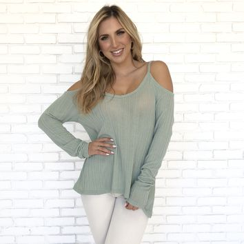 Sage Knit Off Shoulder Sweater Top