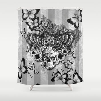 Lost and Found, floral owl with sugar skull Shower Curtain by Kristy Patterson Design