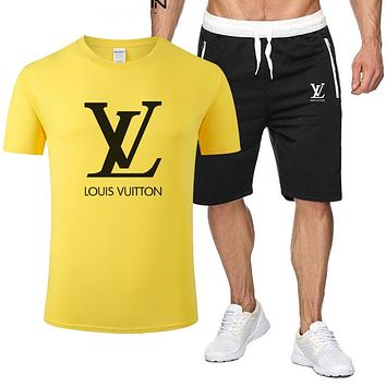 LV Louis Vuitton Fashion New Letter Print Sports Leisure Top And Pants Two Piece Suit Men Yellow