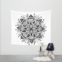 Mandala - Black Wall Tapestry by Heather Dutton