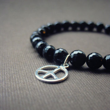 Peace Charm Black Obsidian and Sterling Silver Beaded Stretch Bracelet