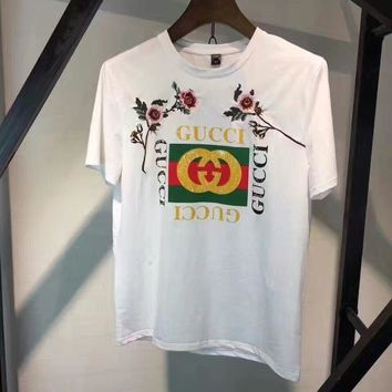 cc hcxx gucci Flowers embroidery t shirt