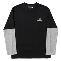 Converse Tide brand retro fake two-piece long-sleeved T-shirt Black