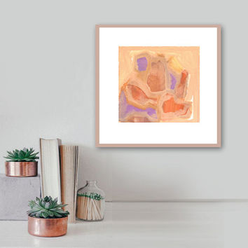 """Abstract Acrylic Painting Original Fine Art 7.5"""" x 7.5"""" by Linnea Heide - painted desert - southwest decor - matted with white -"""