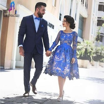 New Elegant Blue Lace Cocktail Dresses Knee Length Evening Gown Long Sleeves Back Zipper Formal Women Dress