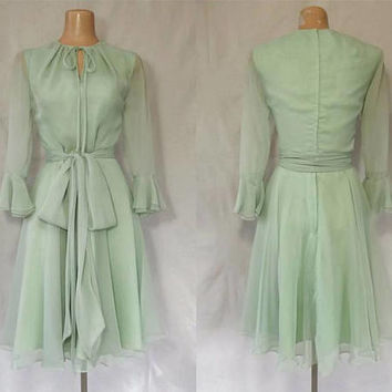 Vintage 1970s Cocktail Dress | 70s Disco Dress | Peridot Green Chiffon Dress | Dirty Dancing Dress | Sheer Sleeves | Miss Elliette
