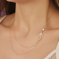 """Bridal necklace, Gold layering necklace, Leaf necklace, freshwater pearl necklace, asymmetric necklace, bridesmaid necklace, wedding, """"Ossa"""""""