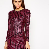 Lashes of London Sequin Long Sleeved Shift Dress - Pink