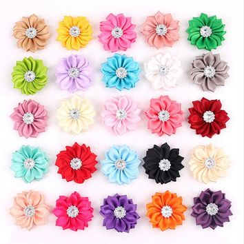 50 pcs/lot Satin Flower WITHOUT Clip Fabric Flower With Rhinestone For Kids Girls Headbands Appliques Garment Accessories A290