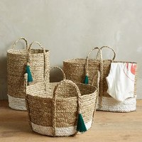 Balinese Tassel Basket by Anthropologie in White Size:
