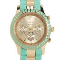 Aeropostale Womens Two-Tone Metal Boyfriend Watch -