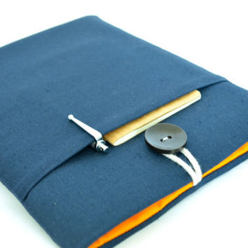 "Custom Sized Laptop Case 14"" Computer Sleeve 15.4"" MacBook Pro, 14"" HP Chromebook - Navy"