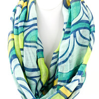 Woven Abstract Print Infinity Scarf-Teal/Multi – The Simply Dixie Boutique