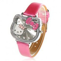 Cute Hello Kitty Hour Marks Leather Quartz Watch - Red China Wholesale - Sammydress.com