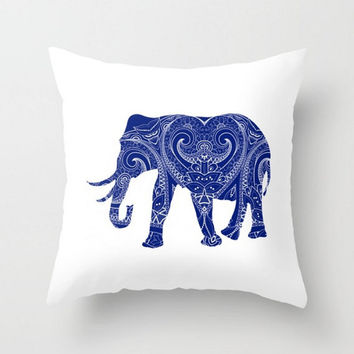 Elephant Storm Blue Navy White Pillow Cover  India Indian Boho Bohemian Mandala Design Indoor or Outdoor  Pillow Case 16x16 18x18 20x20
