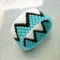 Peyote Band - Zig-Zag in White, Turquoise and Black Band Beadwork Beaded  Delica Seed Bead