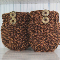 Short Knit Boot Cuffs Button, Short Leg Warmers. Knitted Boot Cuffs Brown, Cream Beige Boot Socks, Accessory Woman,  Boot Tops,