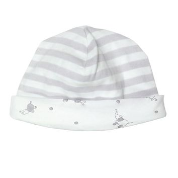 Organic Cotton Hat - reversible grey stripes
